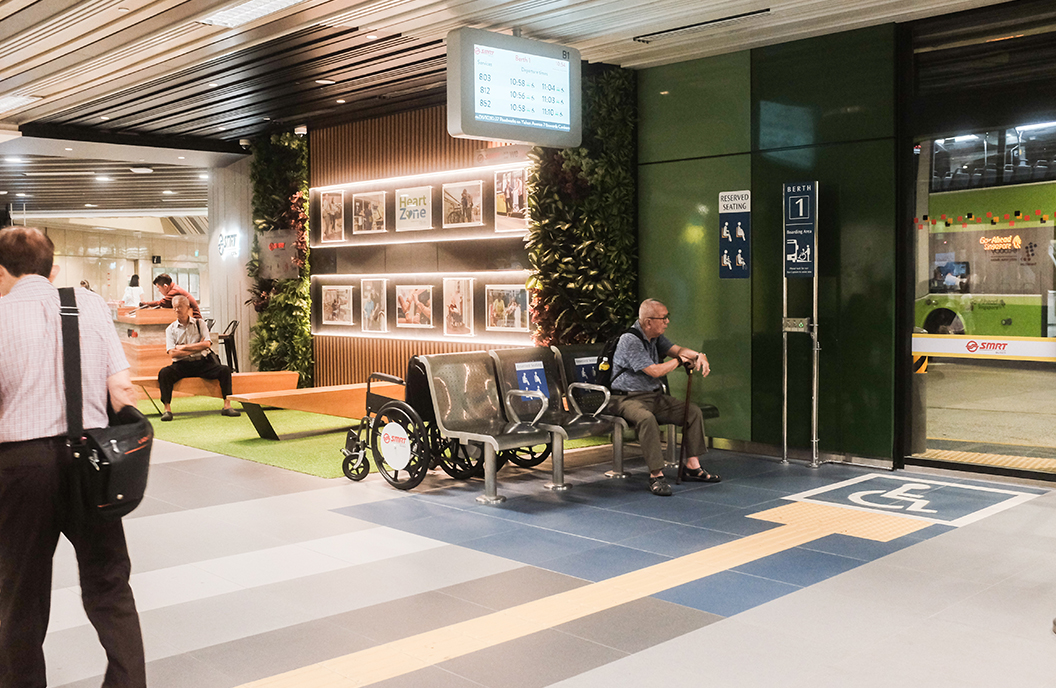 Large spaces at the Yishun Integrated Transport Hub make moving around easier, especially for wheelchair users